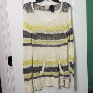 H-D Sweater semi-sheer XL cream/gray/lime-yellow